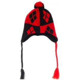 Bioworld Toque - DC Comics - Harley Quinn Red and Black with Fringe and Pom Pom *Sale*