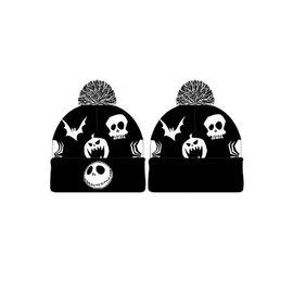 Bioworld Tuque - Disney - The Nightmare Before Christmas Tête de Jack Skellington Brodée Noire et Blanche avec Pompon