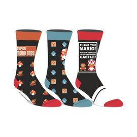 """Bioworld Socks - Super Mario Bros. - Icons """"In Another Castle"""" 3 Pairs Crew Pack"""