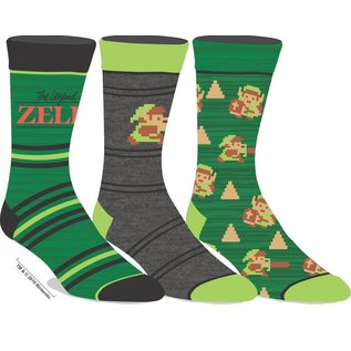 Bioworld Chaussettes - The Legend of Zelda - Jeu Original et Link 8 Bit Paquet de 3 Paires Crew