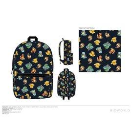 Bioworld Backpack - Pokémon - Pikachu Charmander Bulbasaur Squirtle and Evee Black
