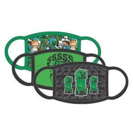 Bioworld Face Mask - Minecraft - Creepers Face Cover Pack of 3 Youth Sized