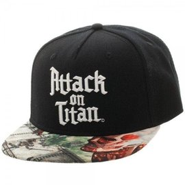 Bioworld Baseball Cap - Attack On Titan - Black with Logo and Titan Snapback