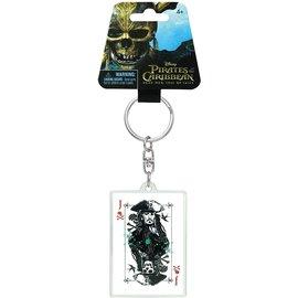 Monogram Porte-Clés - Pirate des Caraïbes - Jack Sparrow sur Carte à Jouer en Acrylique