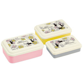Skater Bento Box - Studio Ghibli Kiki's Delivery Service - Jiji with Flowers Set of 3 Snack Boxes