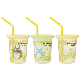 ShoPro Glass - Studio Ghibli - My Neighbor Totoro: Totoro with Flowers Set of 3 Tumblers with Straws 320ml