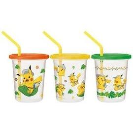 ShoPro Glass - Pokémon - Pikachu Adventurer Set of 3 Tumblers with Straws 320ml