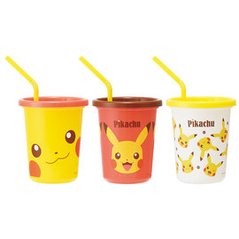 ShoPro Glass - Pokémon - Pikachu Face Set of 3 Tumblers with Straws 320ml