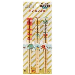 """Warner Bros. Baguettes - Pokémon - Starters 1ère Génération """"Pocket Monsters"""" Ensemble de 3 Paires 16.5cm"""