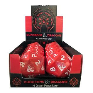 Boston America Corp Bonbons - Dungeons & Dragons - Dé 20 Rouge avec Logo Ampersand +1 Potion Cerise Boîte en Métal