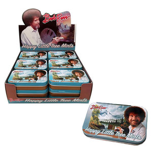 Boston America Corp Bonbons - Bob Ross - Happy Little Trees Menthes Boîte en Métal