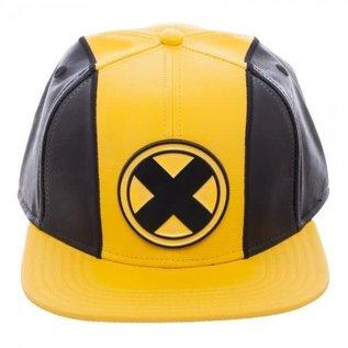 Bioworld Casquette - Marvel - The X-Men Logo en Métal sur Cuir Jaune et Noir Snapback