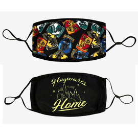Bioworld Face Mask - Harry Potter - House Crests Hogwarts is my Home Face Cover Pack of 2