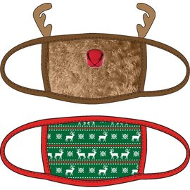 Bioworld Face Mask - Ugly Stuff Supply - Red Nose Reindeer and Motif Face Cover Pack of 2