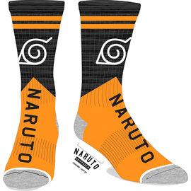 Bioworld Socks - Naruto Shippuden -Konoha Symbol Oranges and Grey 1 Pair Crew