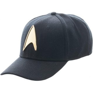 Bioworld Casquette - Star Trek - Badge de Starfleet en Métal Doré Noire