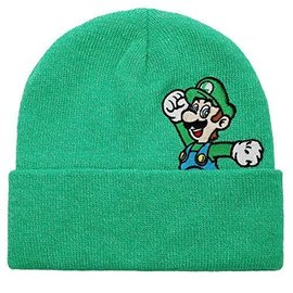 Bioworld Toque - Nintendo Super Mario - Luigi Jumping Embroidered Green
