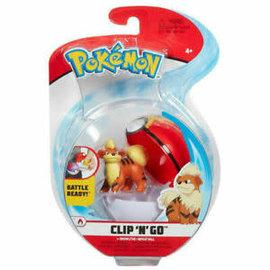 Wicked Cool Toys Figurine - Pokémon - Accessoire pour ceinture Clip 'n' go Growlithe et Repeat Ball