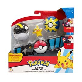 Wicked Cool Toys Figurine - Pokémon - Ensemble pour ceinture Clip 'n' go Pikachu, Ultra Ball et Quick Ball