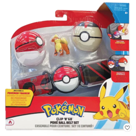 Wicked Cool Toys Figurine - Pokémon - Ensemble pour ceinture Clip 'n' go Growlithe , Poké Ball et Timer Ball