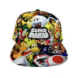 Bioworld Baseball Cap - Nintendo Super Mario - Characters All Over Print with Rubber Patch