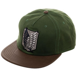 Bioworld Baseball Cap - Attack On Titan - Scout Regiment Crest Green and Brown Snapback