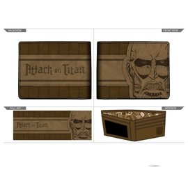 Bioworld Wallet - Attack on Titan - Colossal Titan Brown Faux Leather