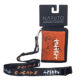 Bioworld Wallet - Naruto Shippuden - Konoha Symbol Hidden Leaf Village Orange and White with Lanyard