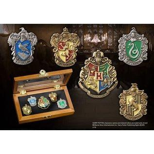 Bioworld Épinglette - Harry Potter - Poudlard et les Quatre Maisons avec Coffret en Bois de Collection