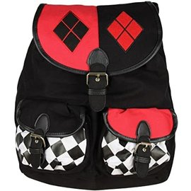 Bioworld Backpack - DC Comics Harley Quinn - with Clips Red, Black and White