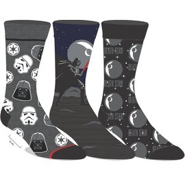 Bioworld Socks - Star Wars - Darth Vader Empire Death Star Pack of 3 Pairs Crew Tube