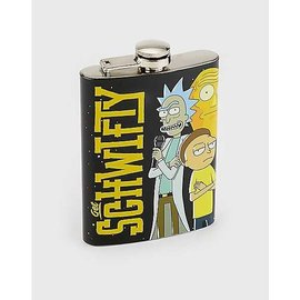 Just Funky Flask - Rick and Morty - Get Schwifty witj Rick, Morty and Cromulon Black 8oz
