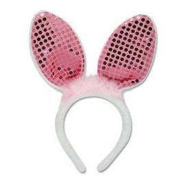 Great Eastern Entertainment Co. Inc. Costume - Lapin - White Bunny Ears with Pink Glitters Ears Headband