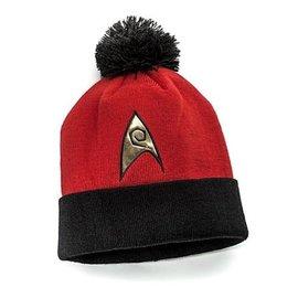 Think Geek Tuque - Star Trek - Badge Starfleet des Ingénieurs Rouge avec Pompon Noir