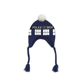 Elope Toque - Doctor Who - Tardis Police Public Call Box Fringe with Pom Pom