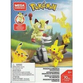 MEGA Brand Figurine - Pokémon - Mega Construx Pikachu et Meowth Showdown 70 Pièces