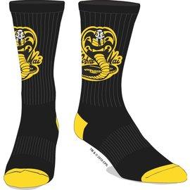 Bioworld Socks - Cobra Kai - Logo Black and Yellow 1 Pair Crew