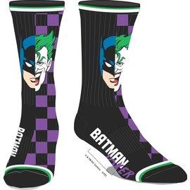 Bioworld Socks - DC Comics - Batman and The Joker Black and Purple 1 Pair Crew