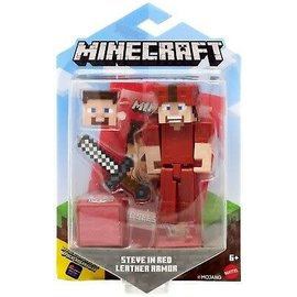 "Mattel Figurine - Minecraft - Steve Avec Armure en Cuir 3.25"" Avec Application Comic Maker"
