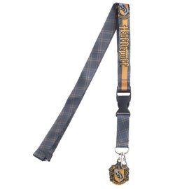 Bioworld Lanyard - Harry Potter - Hufflepuff Crest ''Patience, Dedication, Loyalty'' with Rubber Keychain and and Collectible Sticker