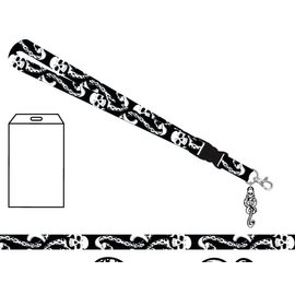 Bioworld Lanyard - Harry Potter - Death Eaters Dark Mark with Rubber Keychain and Collectible Sticker