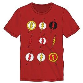 Bioworld Tee-Shirt - DC Comics The Flash - Neuf Différents Logos Rouge