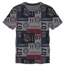 Bioworld T-Shirt - Harry Potter - Hogwarts Crest and the Four Houses 07 Grey, Red and Blue