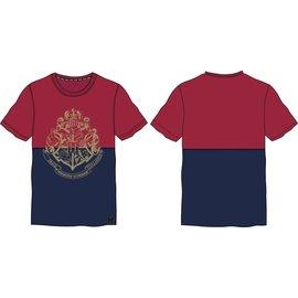 Bioworld Tee-Shirt - Harry Potter - Emblème de Poudlard Split Rouge et Bleu