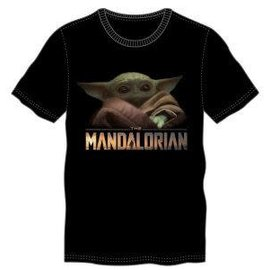 Bioworld Tee-Shirt - Star Wars The Mandalorian - The Child ''Bébé Yoda'' Grogu Logo Noir
