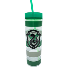 Spoontiques Travel Glass - Harry Potter - Slytherin Crest and Green Stripes with Straw 14oz