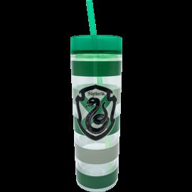 Spoontiques Verre de Voyage - Harry Potter - Blason de Serpentard et Bandes Vertes avec Paille 14oz