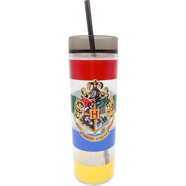 Spoontiques Travel Glass - Harry Potter - Hogwarts Crest with Multicolored Stripes and Straw 14oz