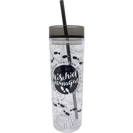 Spoontiques Travel Glass - Harry Potter - Mischief Managed and Marauders Map with Straw 14oz
