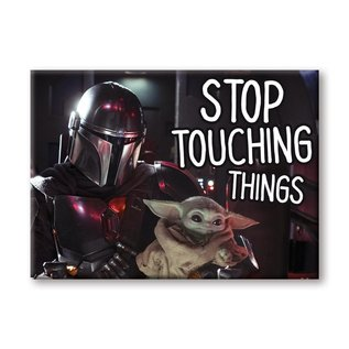 "Ata-Boy Aimant - Star Wars The Mandalorian - Mando et The Child ""Bébé Yoda"" Grogu Stop Touching Things"